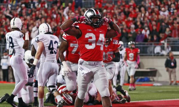 Ohio State running back Carlos Hyde celebrates a touchdown in Saturday's blowout win over Penn State. Will Ohio State fans be satisfied with the BCS bowl game the Buckeyes draw this season?