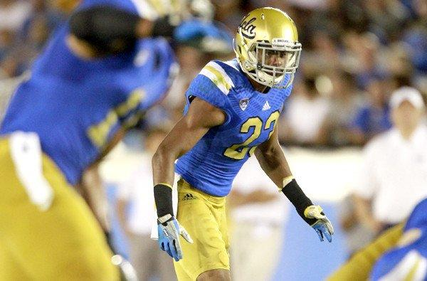 UCLA defensive back Anthony Jefferson Jr. (23) gets set for a play against Nevada in a 58-20, season-opening victory.