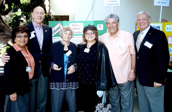 Among the members of the Italian Catholic Federation who represented the St Bede organization at the Ministry Faire were, from left, Dulce and Tom Passanisi, both past presidents; Mary Liss, Nancy and Vince Ammirato, and ICF President Al Restivo.