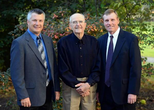 The 2013 inductees to The Lehigh Valley Golf Hall of Fame (from left) Dave Olexson, Bob Hutnik, and Mickey Sokalski pose outside of the Green Pond Country Club in Bethlehem Township where the induction ceremony took place.