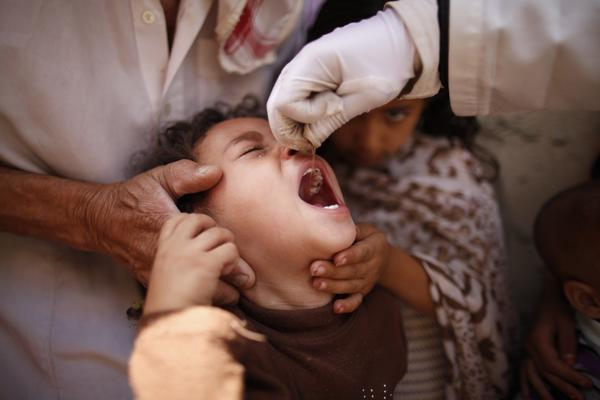 A child receives an oral polio vaccine during an anti-polio campaign in Sanaa June 30, 2013.