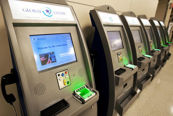 Global Entry kiosks at Dulles International Airport.