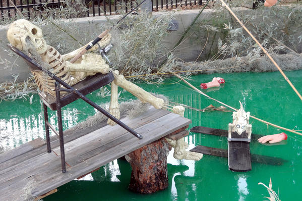 A spooky swamp featuring a long departed fisherman and other spooky delights, was created especially for the Monster Bash.