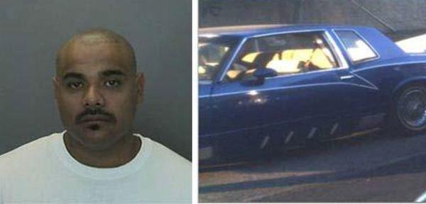 Mario Albert Flores, 28, and his blue Monte Carlo. Flores is wanted in connection with a murder in Anaheim, police say.
