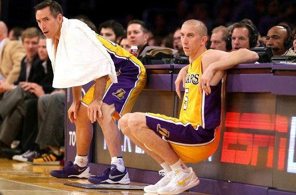 Lakers point guard Steve Nash, left, is sitting out against Golden State, so Steve Blake, right, got the start.