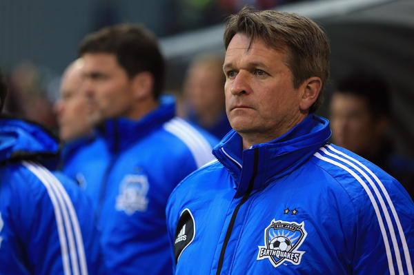 Frank Yallop during a San Jose game in 2013.