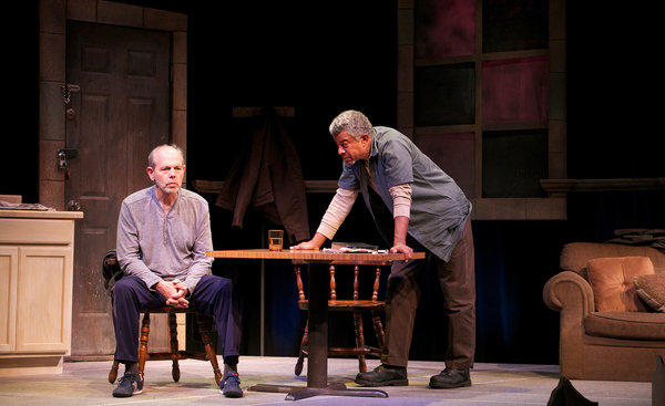 """White (Joe Spano, left) and Black (Tucker Smallwood) transform a faith-versus-reason philosophical debate into high stakes drama in """"The Sunset Limited."""""""