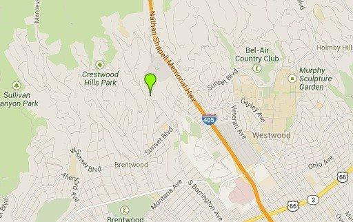A map shows the approximate location of one of two water-main breaks in Brentwood.