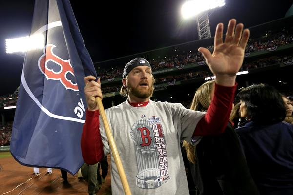 Ryan Dempster of the Boston Red Sox celebrates on the field after a 6-1 victory over the St. Louis Cardinals in Game Six of the 2013 World Series.
