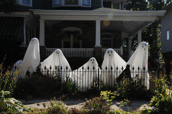 These ghosts are primed and ready to provide a ghoulish Halloween on at a Pennsylvania home. A survey shows that some Americans believe in ghosts.