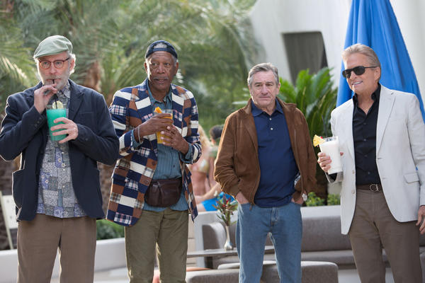 "Kevin Kline (as Sam Harris), Morgan Freeman (as Archie Clayton), Robert De Niro (as Paddy Connors), and Michael Douglas (as Billy Gherson) star in ""Last Vegas."""