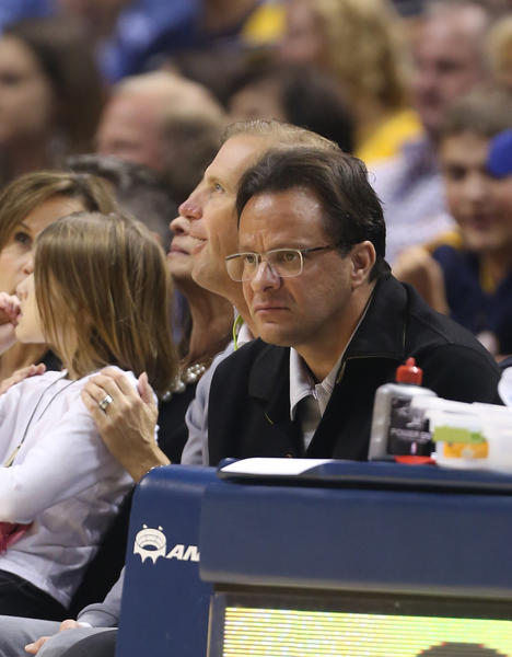 Indiana coach Tom Crean watches former Hoosiers star and Orlando Magic guard Victor Oladipo play against the Indiana Pacers at Bankers Life Fieldhouse.