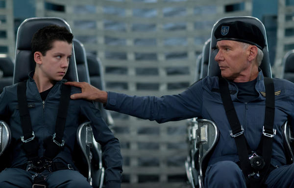 "Asa Butterfield and Harrison Ford star in ""Ender's Game."""