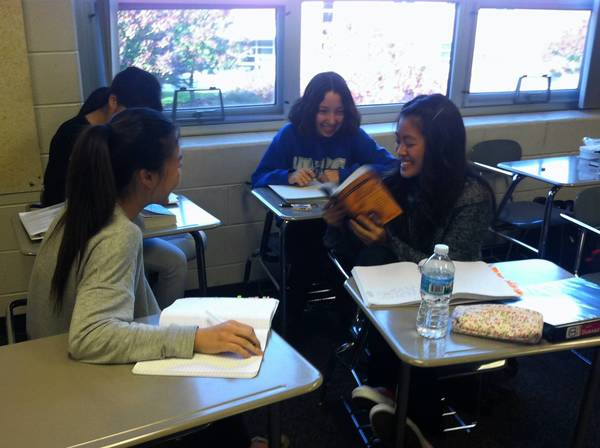 High school students work together on an English project during class at Vernon Hills High School. Despite the school not passing AYP, administrators say their students are equipped for success in high school and beyond.