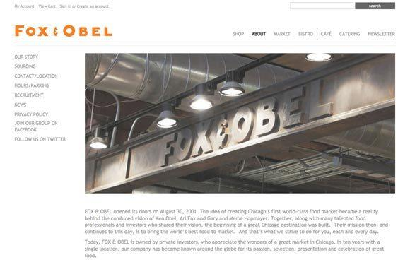 The website for shuttered Fox & Obel was still running and collecting orders Thursday.