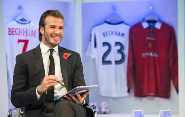 David Beckham answers fan questions from London during a Facebook Q&A session Oct. 30.