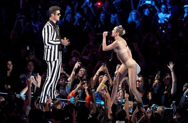 Miley Cyrus' provocative performance with Robin Thicke at the MTV Video Music Awards inspired one of the most popular Halloween costumes this year.