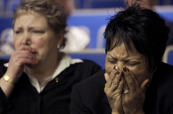 Celeste Peterson, right, the mother of Virginia Tech shooting victim Erin Peterson, cries after an earlier court ruling on the college's liability.
