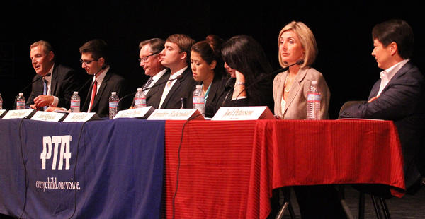 Candidates, from left, Dan Jeffries, Kevork Kurdoghlian, David Sagal, Ian Mirisola, Karyn Riel, Kaitzer Puglia, Jennifer Rubendall, and Joel Peterson at a candidates forum for the La Canada Unified School District board at La Canada High School on Tuesday, October 1, 2013. There are 8 candidates running for 3 open seats.