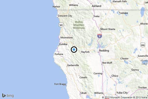 A map shows the approximate location of the epicenter of Thursday morning's quake near Hayfork, Calif.