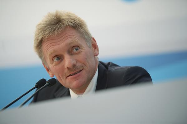 In this handout image, Russian presidential spokesman Dmitry Peskov speaks during a briefing at the G20 Growth Agenda meeting on Sept. 5, 2013, in St. Petersburg, Russia.