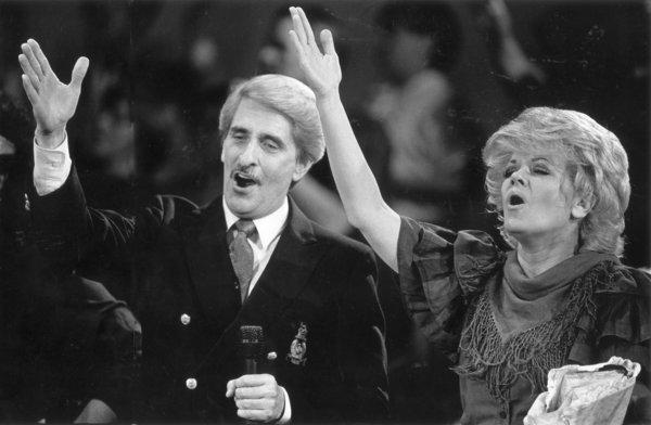 Paul and Jan Crouch during a recording of one of their television shows from the Cathedral of Light Church in Selma, Calif.