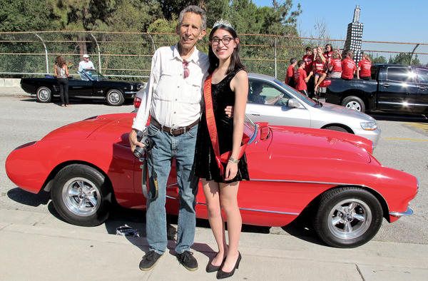 Jack Bierman poses with his daughter, Clare, on Oct. 4 in Memorial Park, just before the La Canada High School Homecoming Parade. The 71-year-old Bierman passed away on Oct. 24.