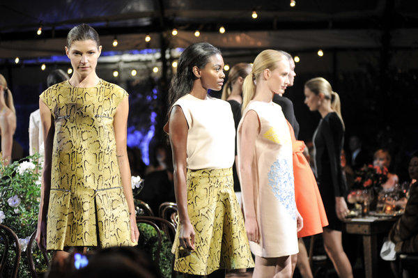 Models show off Stella McCartney designs at Autumn Party fundraiser in Los Angeles.