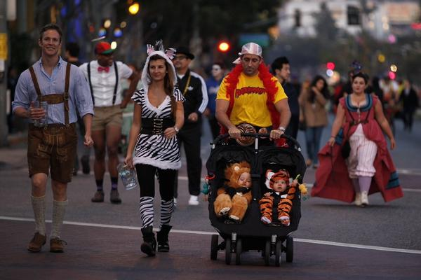 West Hollywood officials warned of heavy traffic Thursday for the annual Halloween festivities. Above, crowds amass for last year's celebration.