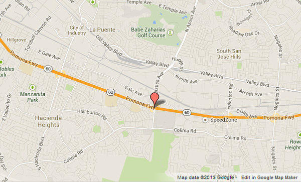 The red marker shows approximately where the 60 Freeway was shut down after a motorist allegedly shot at L.A. County sheriff's deputies.