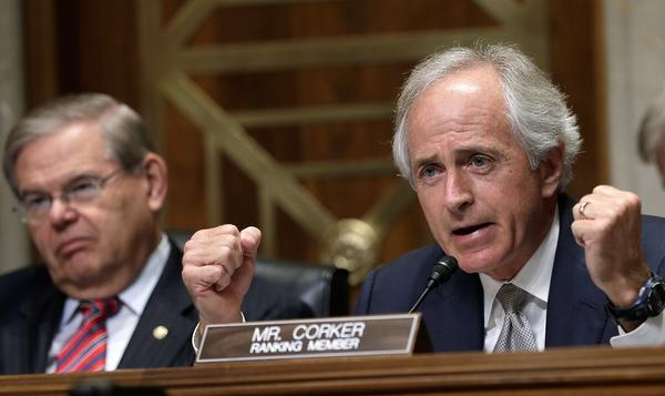 Sen. Bob Corker (R-Tenn.) questions U.S. Ambassador to Syria Robert Ford during the envoy's appearance before the Senate Foreign Relations Committee in Washington on Thursday.