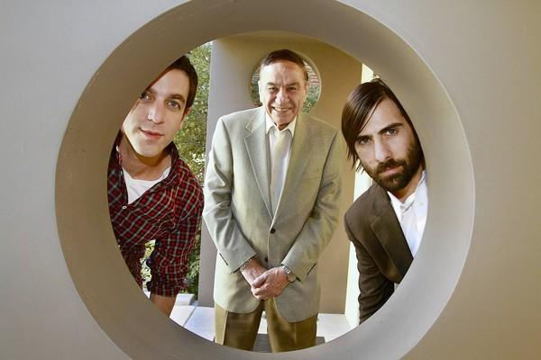 "BJ Novak(left) and Jason Schwartzman (right) who play legendary Disney songwriters Richard and Robert Sherman in the new movie ""Saving Mr. Banks,"" pose along with the real Richard Sherman (center)."