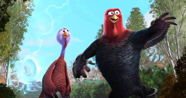 "Reggie (voiced by Owen Wilson) and Jake (Woody Harrelson) in ""Free Birds."""