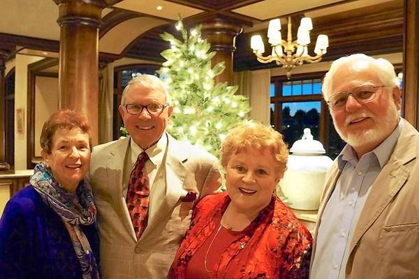 Pacific Chorale Immediate Past Chairman Mart Hubbard and Margie Hubbard (co-chairs of Dickens Underwriting Dinner) with Pacific Chorale board member Vina Williams Slattery and Tom Slattery (co-chairs of A Dickens Feast).