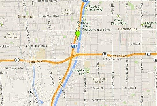 A map shows the approximate location of where a man's body was found early Thursday in Compton.