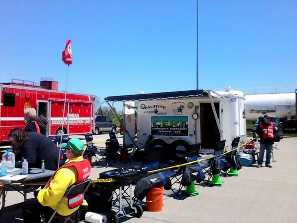 The Palatine Emergency Management Agency Fire Rehab Team equipment is set up and utilized while participating in a recent exercise.