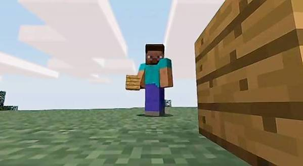 A scene from a video promoting the video game Minecraft.
