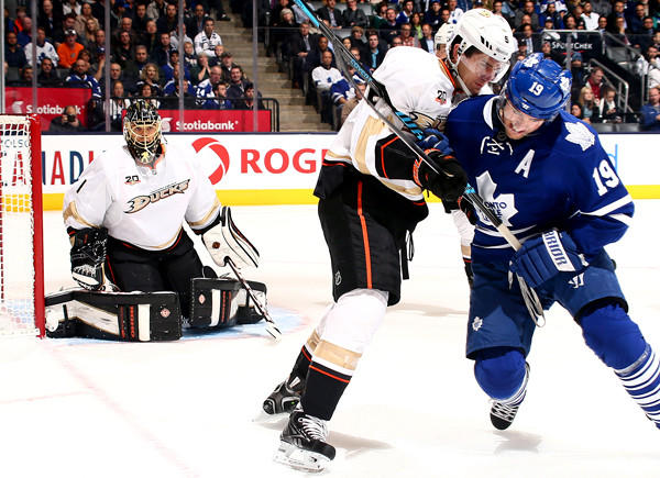 Ducks defenseman Luca Sbisa battles Joffrey Lupul for position during a game earlier this month.