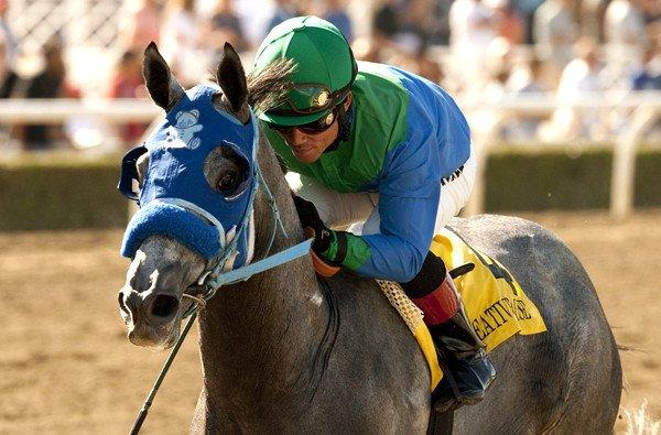 Joel Rosario rides Creative Cause to victory in the Norfolk Stakes at Santa Anita Park.