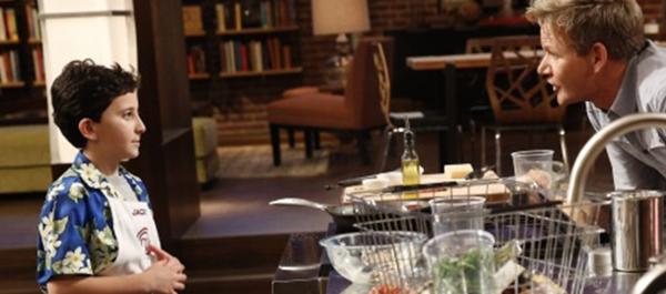 "Semi-finalist Jack Hoffman and co-host Gordon Ramsay in Fox's ""MasterChef Junior,"" whose first season concludes Friday."