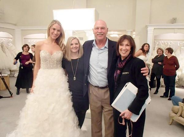 "Dana Stellar and her father Tony will be featured in Friday's editon of TLC's show ""Say yes to the Dress."" Left to Right: Dana Stellar, the bride; Jen, a Kleinfelds consultant; Tony Stellar, Dana's father; and a Kleinfeld's Seamstress."