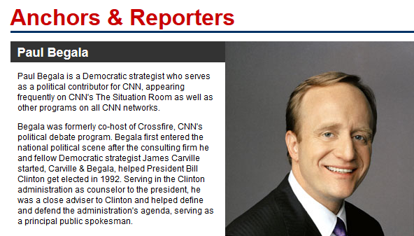 "This is how Paul Begala appears on CNN's website under the heading ""Anchors & Reporters."""