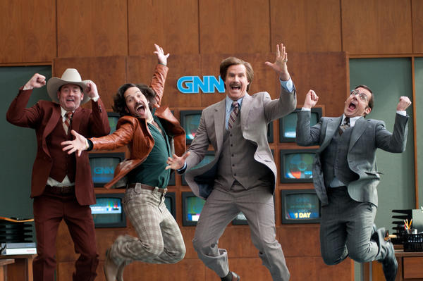 "(Left to right) David Koechner is Champ Kind, Paul Rudd is Brian Fantana, Will Ferrell is Ron Burgundy and Steve Carell is Brick Tamland in ""Anchorman 2: The Legend Continues."