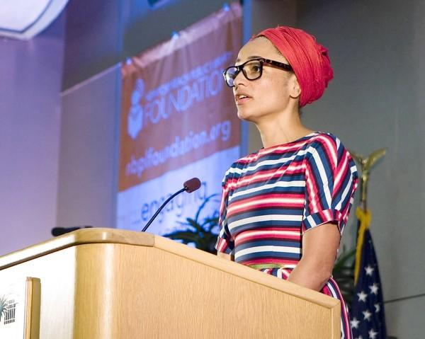 British author Zadie Smith speaks at Newport Beach Public Library Wednesday.