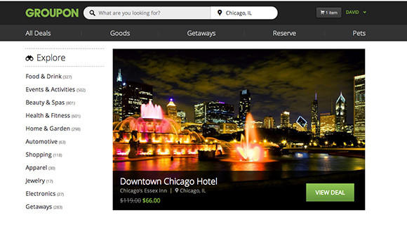 An image of Groupon's redesigned website.