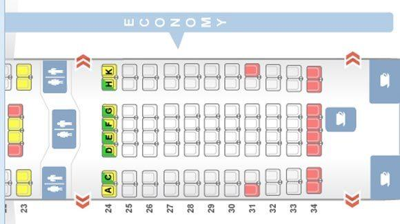 A ANA configuration of a Boeing 787-800 with eight seats across in coach.