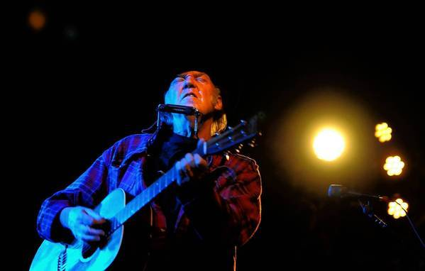 Neil Young performs at the annual fundraiser for the Silverlake Conservatory music school Wednesday.