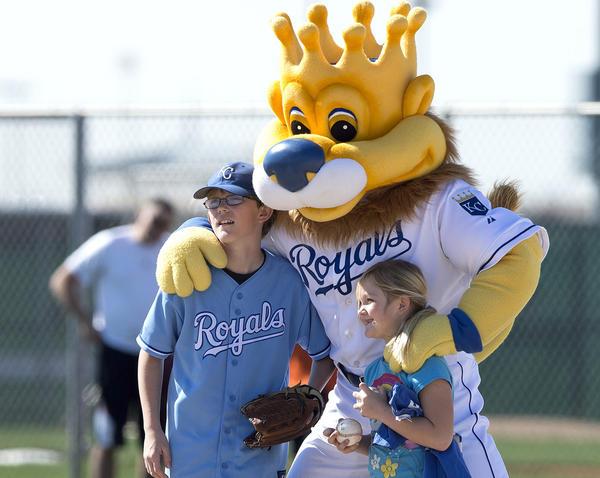 Kansas City Royals mascot Sluggerrr during happier times.