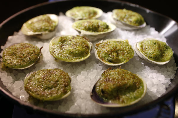 Clams prepared by Chef Michael Cimarusti (CQ) from Providence and Connie and Ted's restaurant.