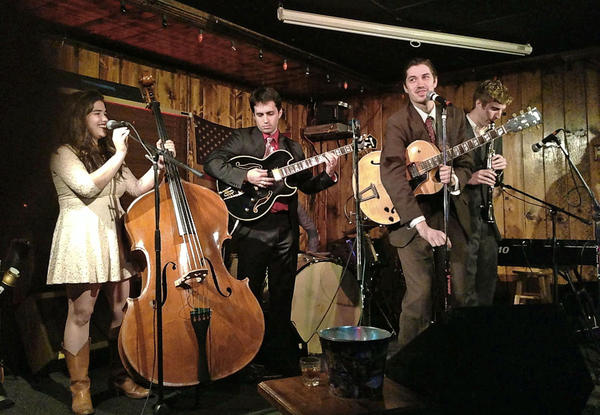 The Hi-Fi Honeydrops during a recent performance at Joe's Great American in Burbank, where the band returns Monday. Left to right: Eliana Athayde (bass/ vocals), Keegan Anglim (Guitar), David Elsenbroich (guitar/ vocals), and Max Bryk (Clarinet).